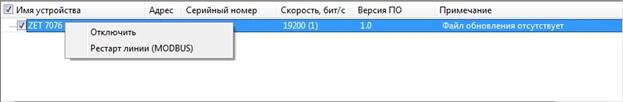 Контекстное меню преобразователя интерфейса ZET 7076