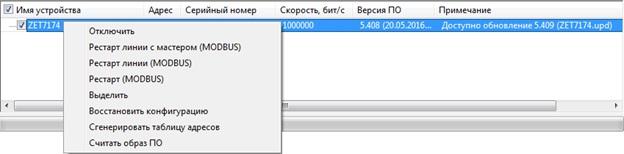 Контекстное меню преобразователя интерфейса ZET 7174