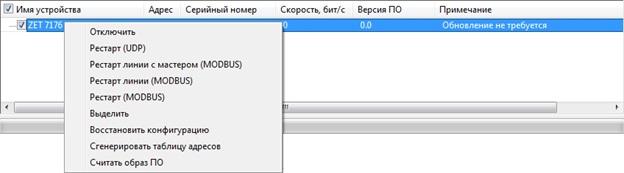 Контекстное меню преобразователя интерфейса ZET 7176
