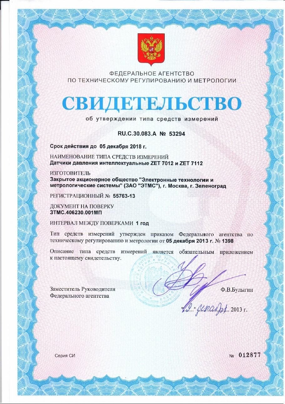 Свидетельство об утверждении типа СИ 53294