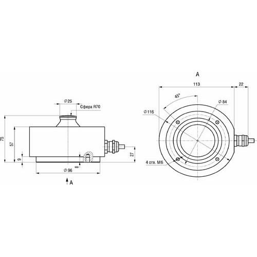 Габаритные размеры тензорезисторного датчика M70K