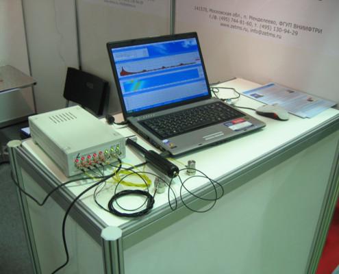 Анализатор спектра с подключенными к нему первичных преобразователей