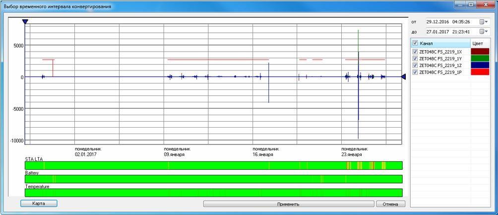 Конвертация данных. Отображение интервала времени записанных данных, которые необходимо конвертировать
