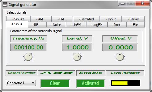 Signal generator - sinusoidal signal