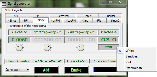 Signal Generator - selecting signal type - White signal