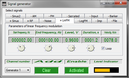 Signal generator - Linear frequency-modulated signal - 1