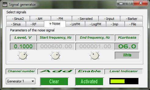 Signal generator - White noise - Kurtosis 6