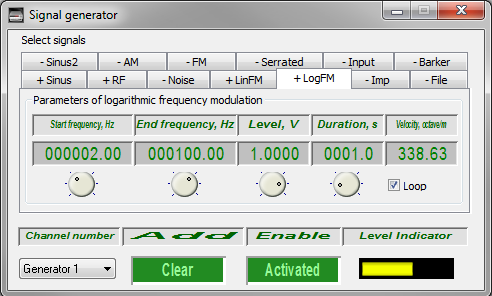Signal generator - logaritmic frequency-modulated signal - 1