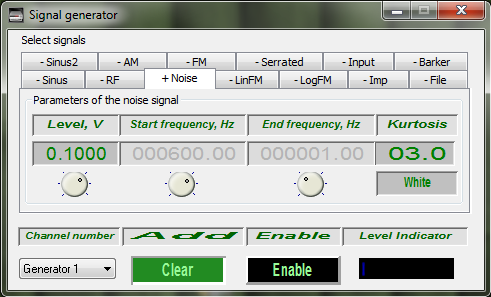 Signal generator - main program window with the set parameters