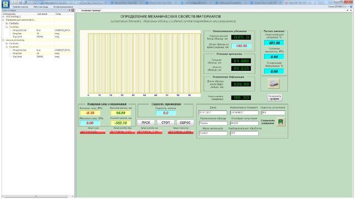 SCADA-проект Определение механических свойств материалов