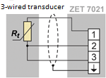 Three-wired transducer connection scheme