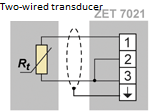 Two-wired transducer connection scheme
