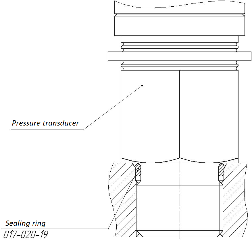Use of the sealing ring in the course of digital transducer mounting - dimensional drawing