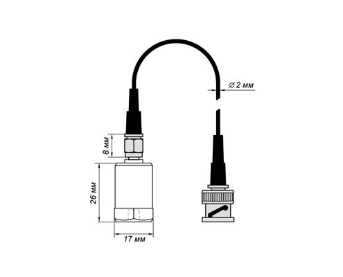 Accelerometer BC 110. Dimensions with cablekabelem