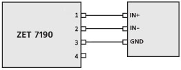 The differential connection of the output channels 2.5 V