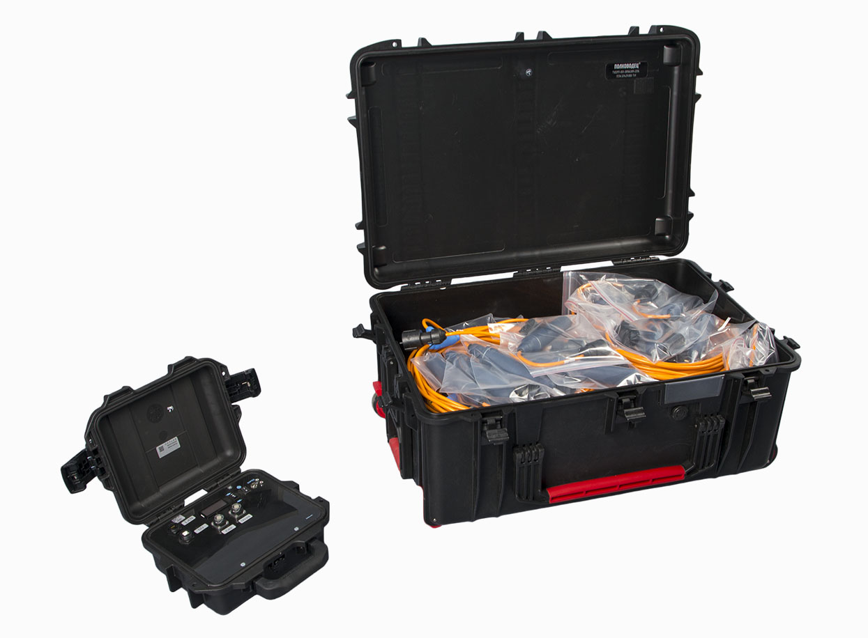 Kit for seismic research performance - general view of components, cases for storage and transportation