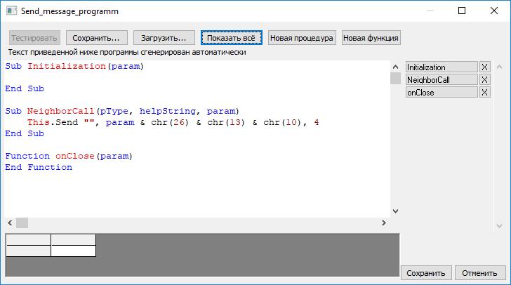 Код программируемого компонента отправки сообщений