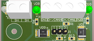 Терминирующее сопротивление на стороне преобразователя интерфейса ZET 7076