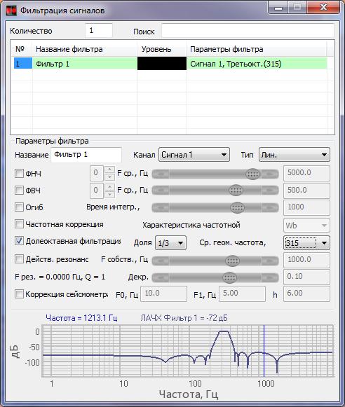Фильтрация сигналов - Долеоктавная фильтрация