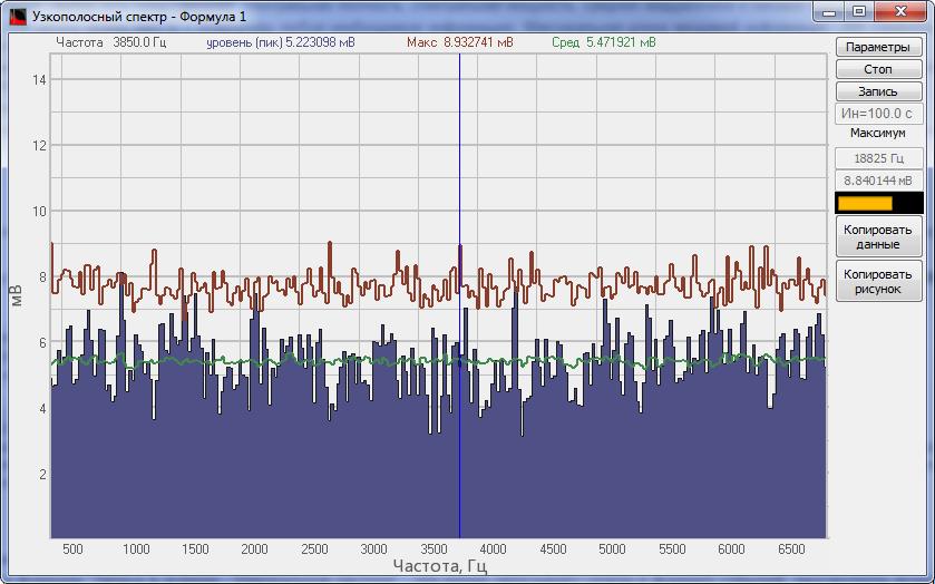 Внешний вид программы Узкополосный спектр