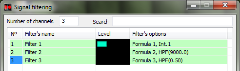 Signals filtration Formula program