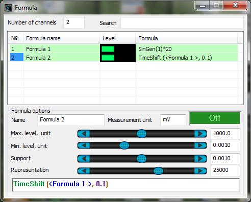 ZETLAB Formula Measurement Functions - SinGen TimeShift