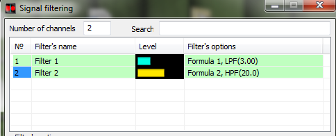 ZETLAB Formula - Signals filtering - LPF - HPF