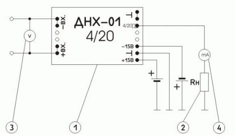 Схема включения измерительного преобразователя  постоянного и переменного напряжения ПИН-_-У-4/20-Д