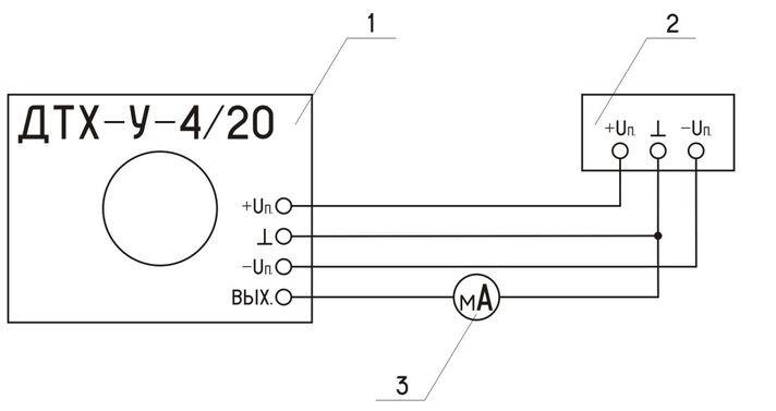Схема включения измерительного преобразователя тока ПИТ-___-У-4/20-Б40