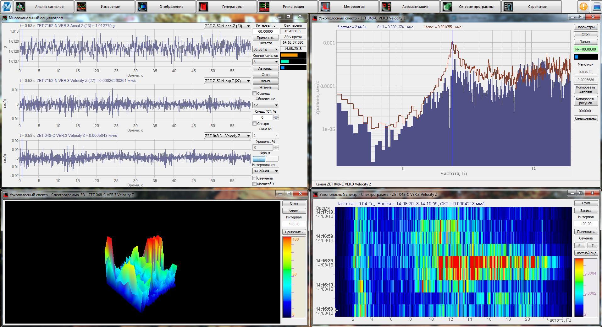 сигналы с DEMO сервера в программах ZETLAB
