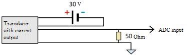 Connection of current-output sensors - four-wired scheme