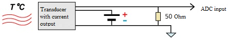 Connection of current-output sensors - three-wired scheme