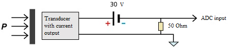 Connection of current-output sensors - two-wired scheme