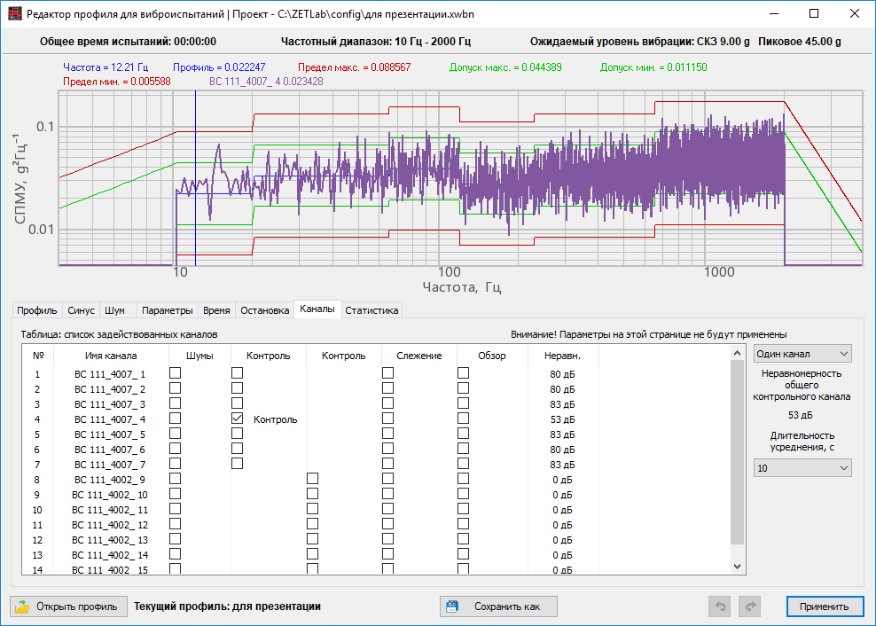 Broad-band random vibration - editing the vibration testing profile parameters