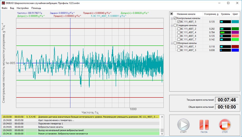 Broad-band random vibration - main interface of the program