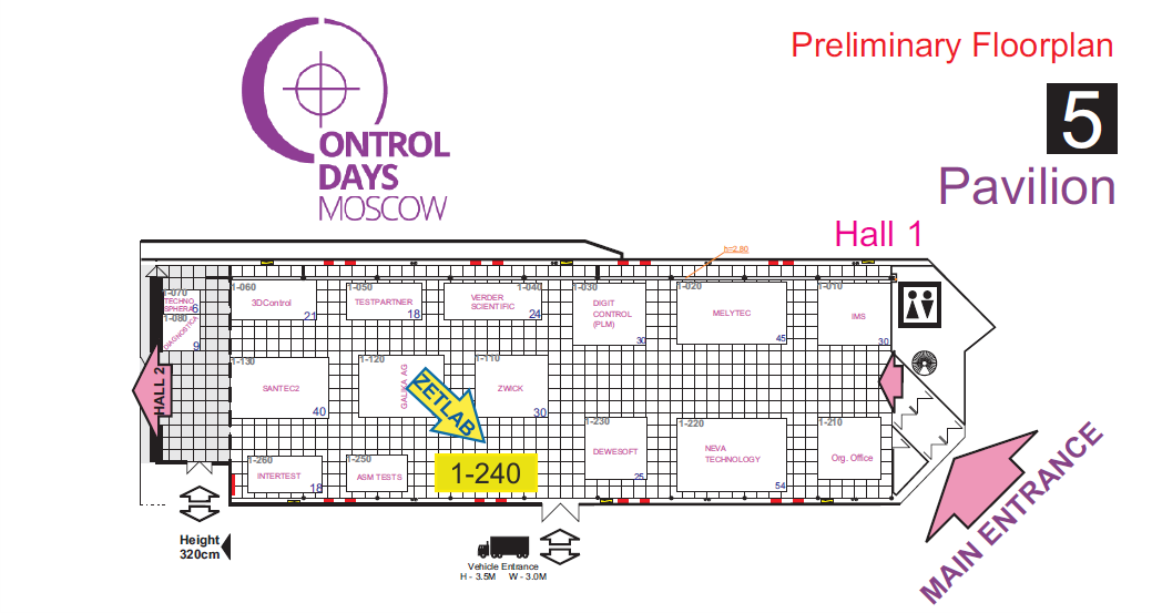 Location of ZETLAB Booth at the Exhibition Control days 2019
