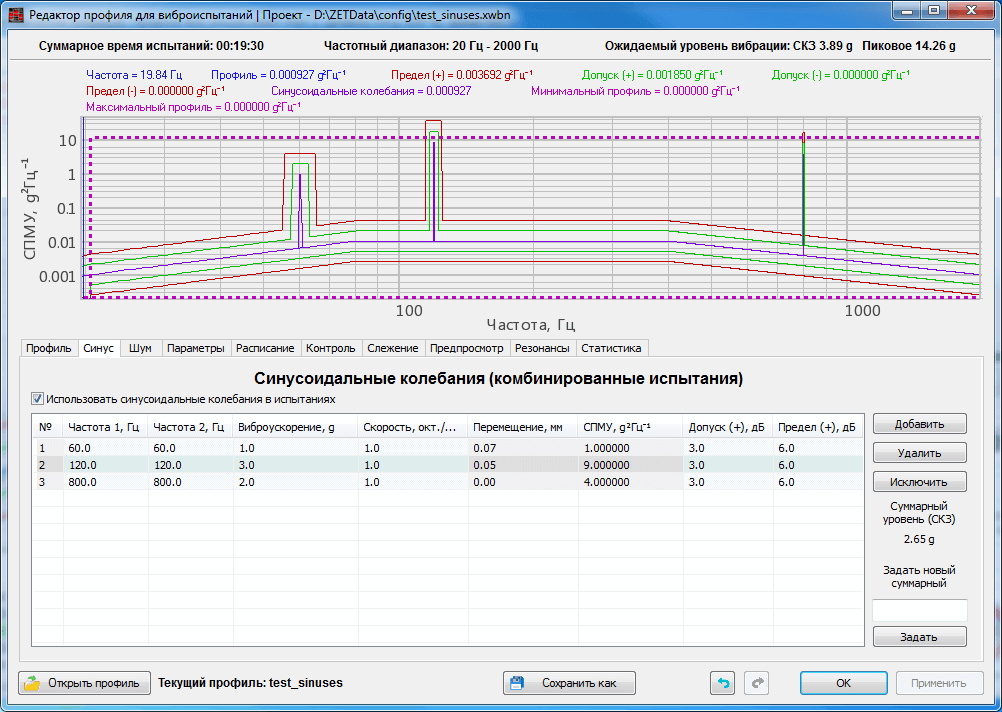Sine-on-Random - SoR - configuration of the specimen testing parameters