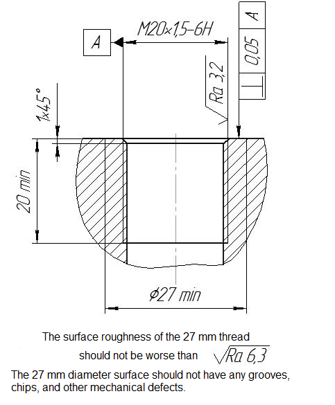 Hydrophone BC 321 by ZETLAB - dimensional drawing of the mounting surface