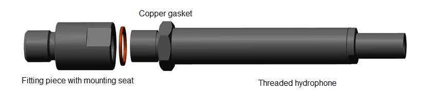 Installation scheme for threaded hydrophone by ZETLAB