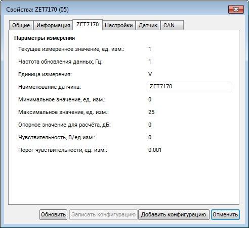 Вкладка «ZET7170»